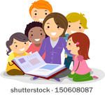 clipart of diverse group of children viewing a book with an adult woman who is presumably a librarian
