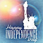 """sun-flared background with Statue of Liberty bust outline with """"Happy Independence Day"""""""