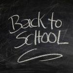 school blackboard featuring the words Back to School written in white chalk