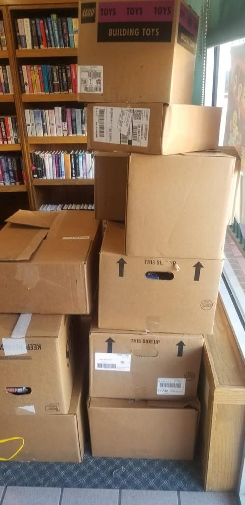 a very large stack of boxes