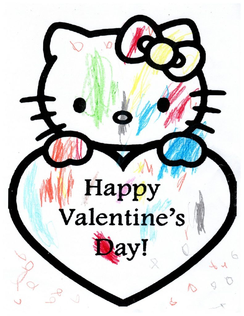 hello kitty valentine's day coloring page