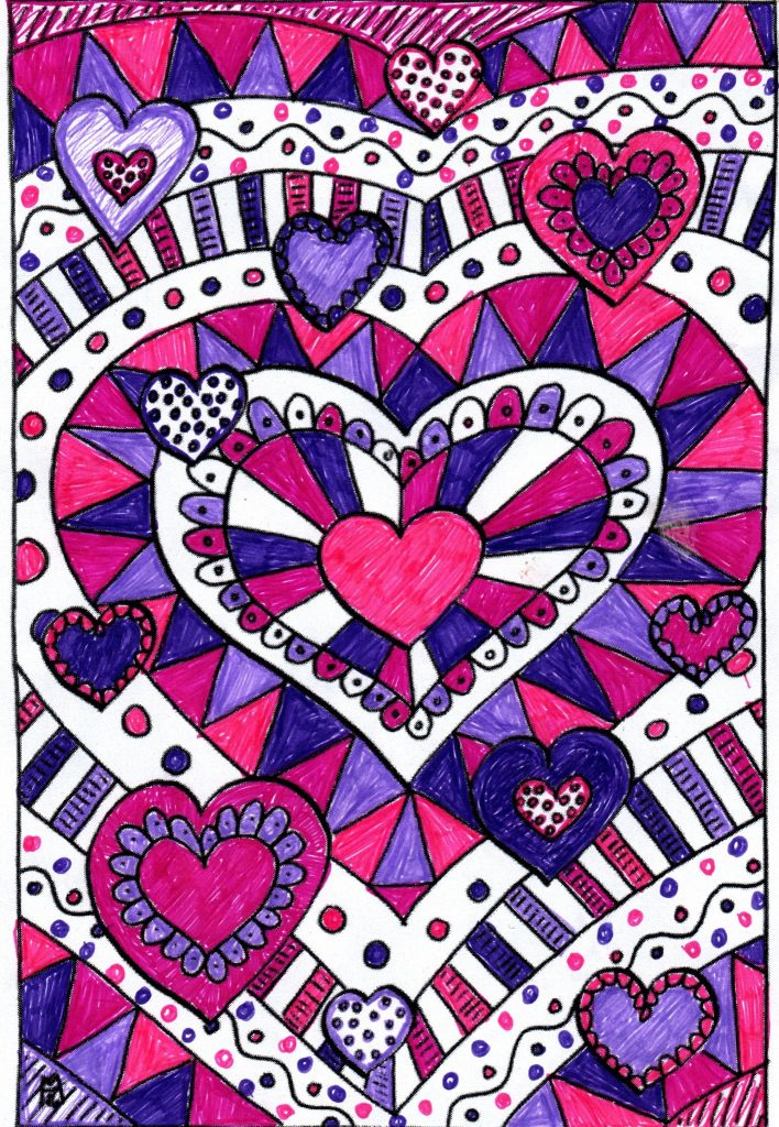 colorful heart coloring page