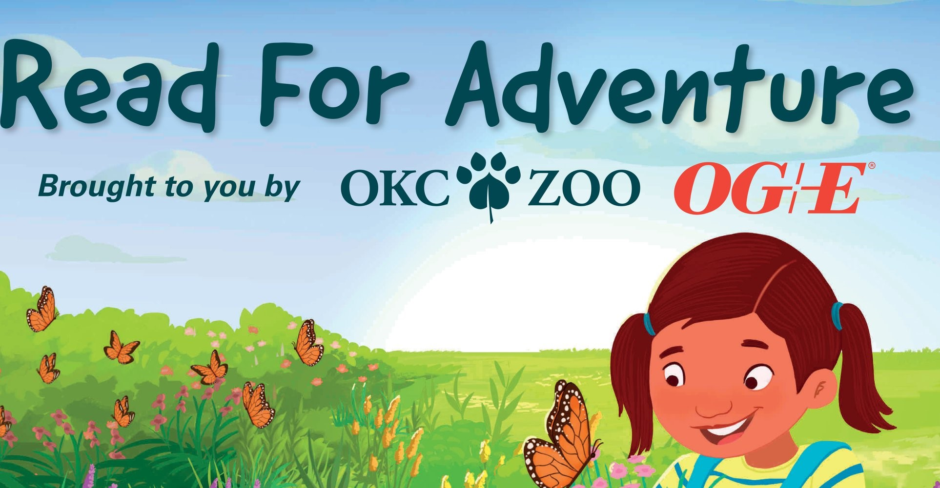 Read for Adventure brought ot you by OKC ZOO and OG and E image on small girl with butterfly from the book Junipers Butterfly Garden