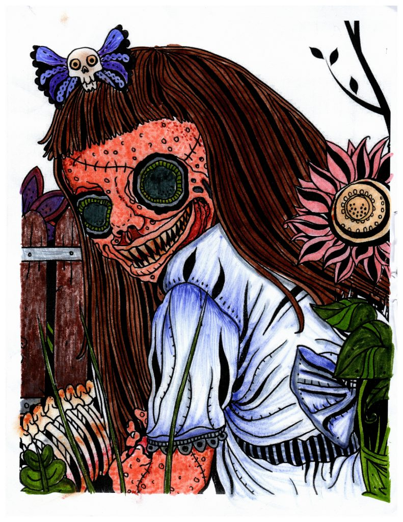 scary zombie girl and scary zombie flower