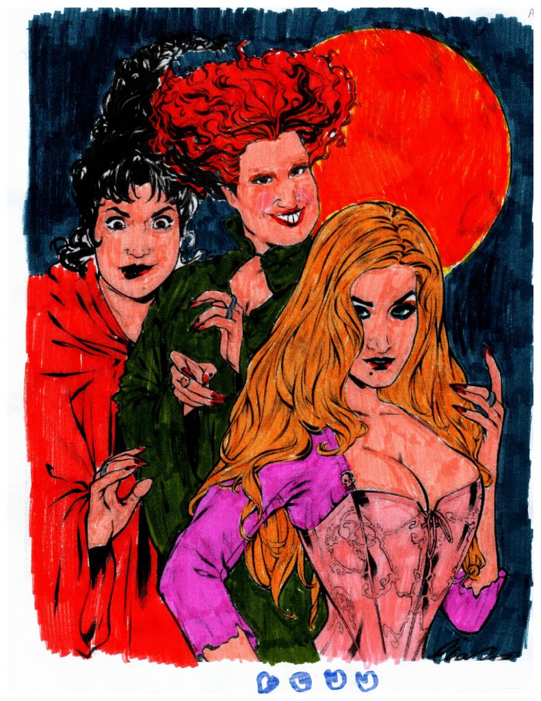 coloring page of the sanderson sisters from Hocus Pocus