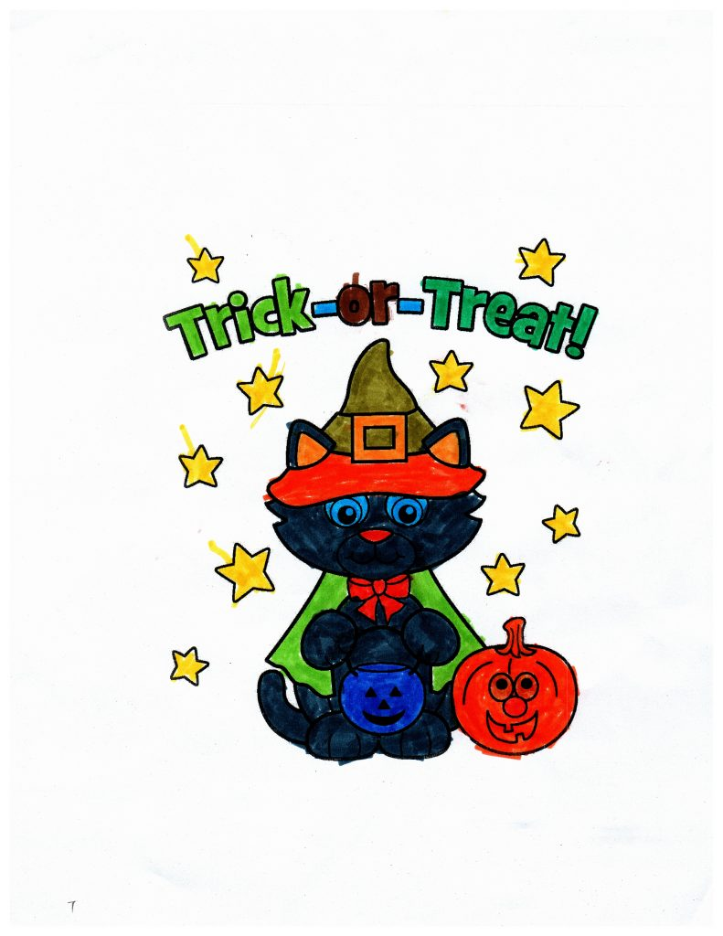 trick or treat coloring page with black cat