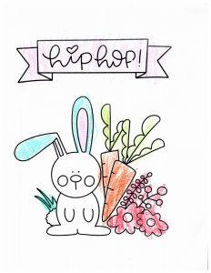 """A Bunny and carrots with a sign that says """"hip hop"""""""